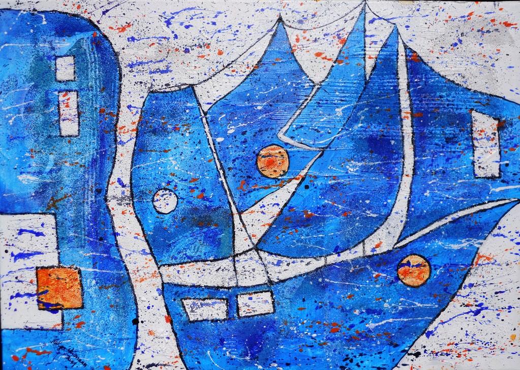 blaues Treiben am Meer 70x50 cm 2011