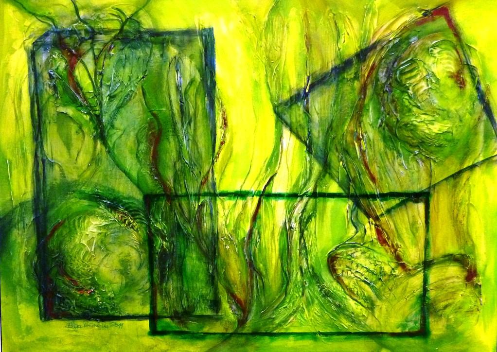 grünes Leben hinter Scheiben 70x50 cm 2011