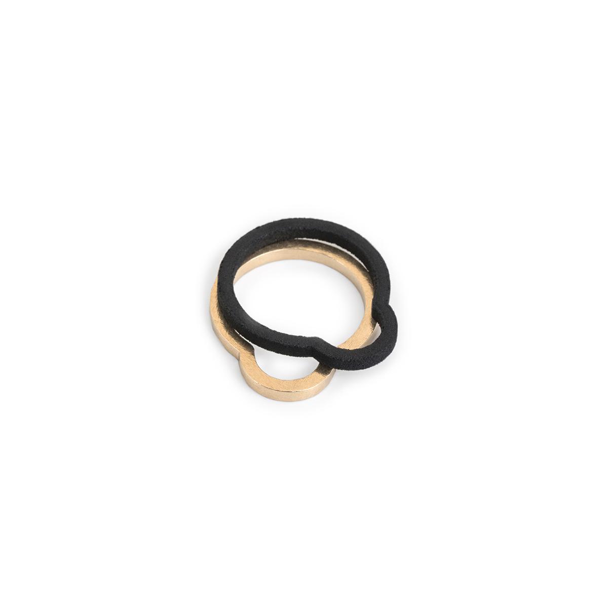 Ringe Crop Circle, schwarzer Kunststoff, Silber vergoldet