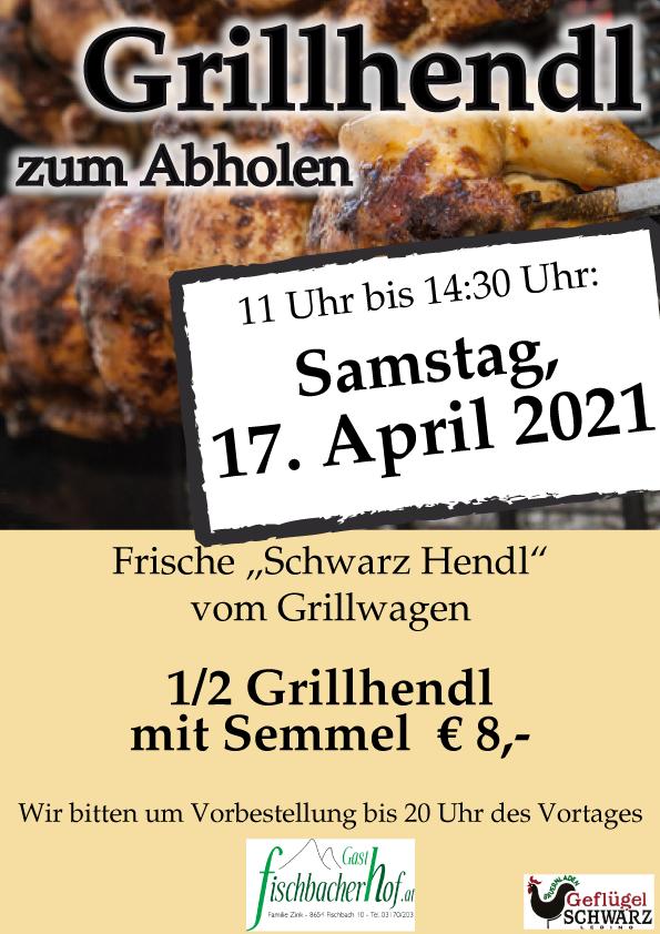 """""""Schwarz-Grillhendl"""" vom Grillwagen am Sa. 17. April"""