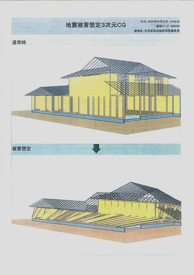 現在の建物に阪神大震災の地震が来た場合の被害状況のシュミレーションーこのままでは1階がつぶれる