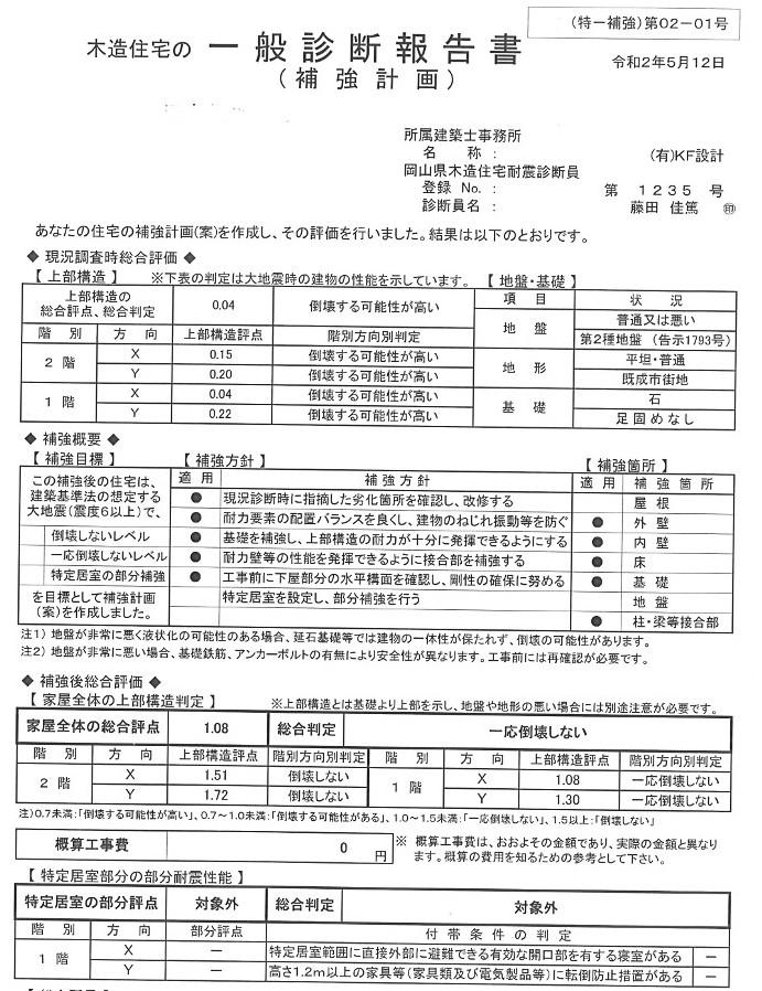 岡山県木造耐震診断により、現況建物の耐震診断と改修プランにて耐震補強計画をチェックする