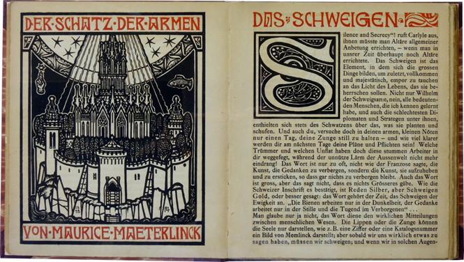 Titelblatt und erste Seite aus: Maurice Maeterlinck: Der Schatz der Armen. Illustriert von Melchior Lechter. Leipzig, Florenz: Diederichs 1898. © Prof. Ulrich Schulz, Karlsruhe.