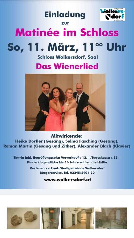 Einladung zu unserer Wienerlied-Matinee am 11.3.18 um 11 Uhr im Schloss Wolkersdorf 🎶