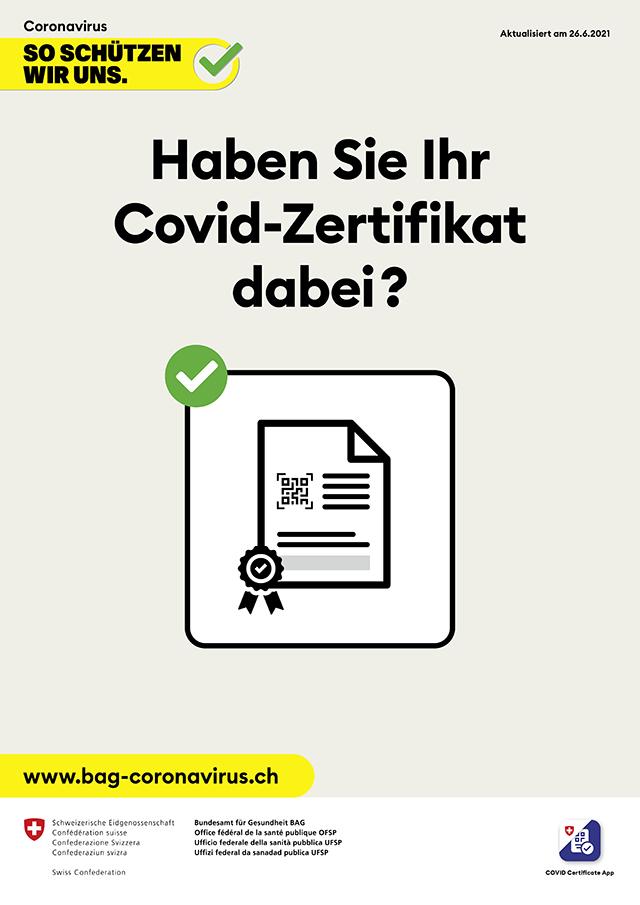 Covid-Zertifikat und Öffnungszeiten