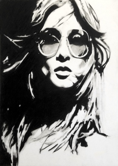 Girl with sunglasses | 42 x 59 cm | Sold