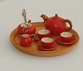 Red Wooden Tea Set