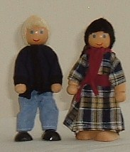 Twin Teenage Brother & Sister Wooden Dolls