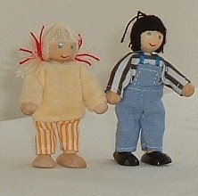 Twin Brother & Sister Wooden Dolls