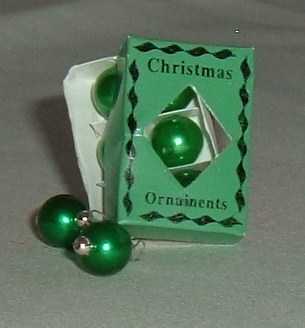 Box of Green Christmas Baubles