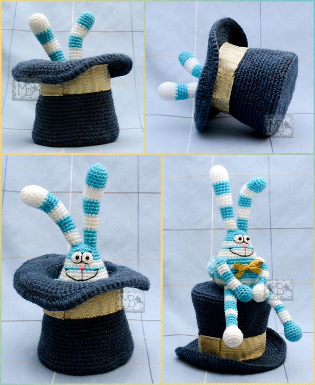 Фокус-покус Заяц из цилиндра, Авторская работа / Hocus-pocus The Hare from Top Hat, The work of authorship  Hare 18,5 cm, Top Hat brims Ø=11 cm