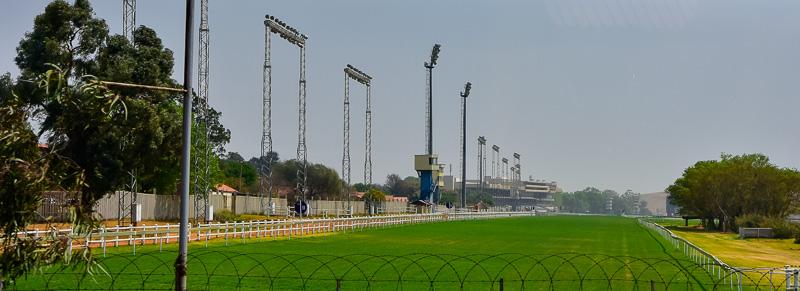 Der einzige noch knallgrüne Rasen - für eine Pferderennbahn.