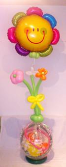 Stuffed Balloon mit Blumenstrauss und Folienballon Blume