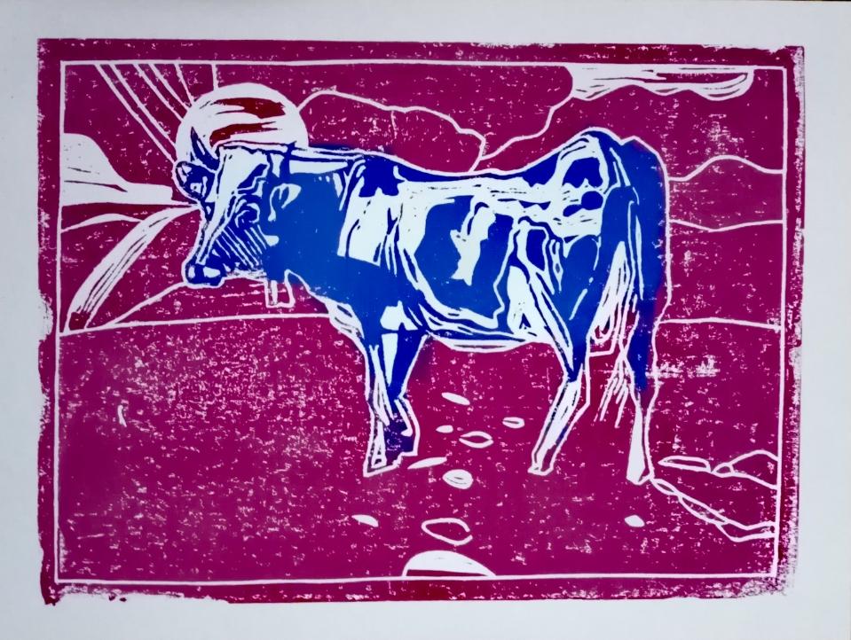 Svatá Milka - Sommer . Linolschnitt . 31 x 42 cm . 2021