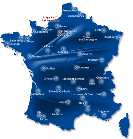 Carte des centres de formation DSP PACT en France