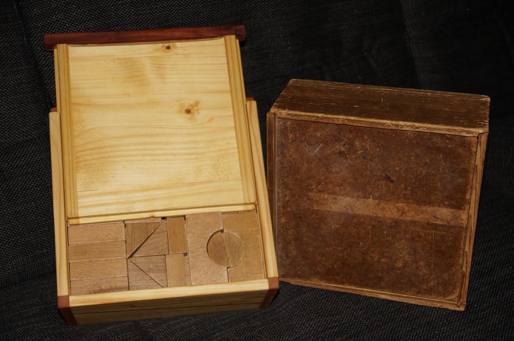 Neue und alte Kiste für Bauklötze