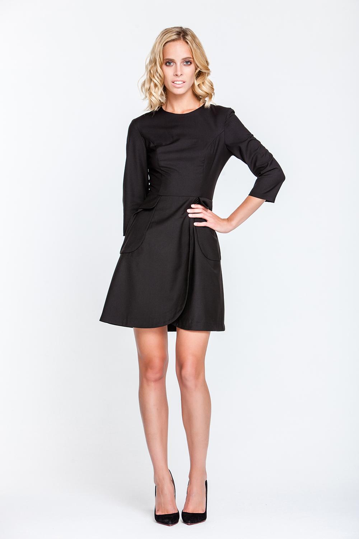 Fit und Flare Kleid, schwarz