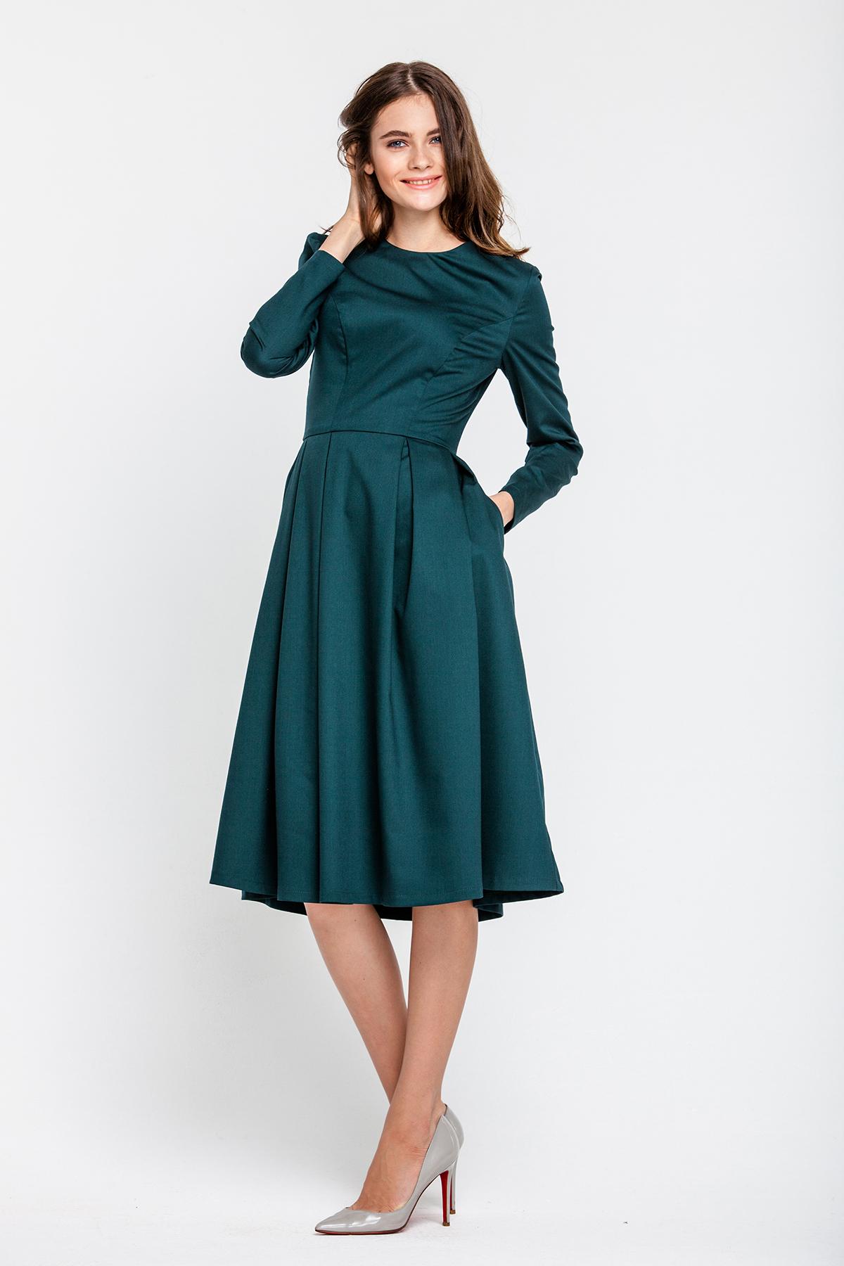 Tailliertes Kleid,  petrol
