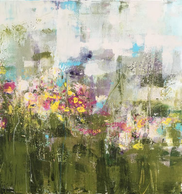 Acrylfarbe und Ölpastellkreide auf Leinwand 60 x 60 cm