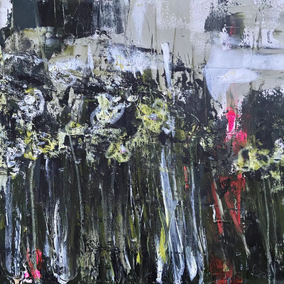 Acrylfarbe und Ölpastellkreide auf Leinwand 30 x 30 cm