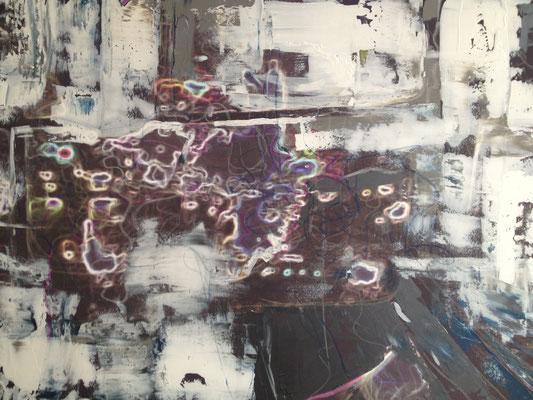 Acrylfarbe und Ölpastellkreide auf Leinwand 60 x 80 cm