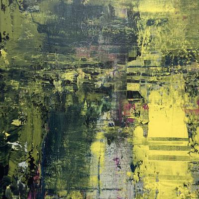 Acrylfarbe und Ölpastellkreide auf Leinwand 50 x 50 cm