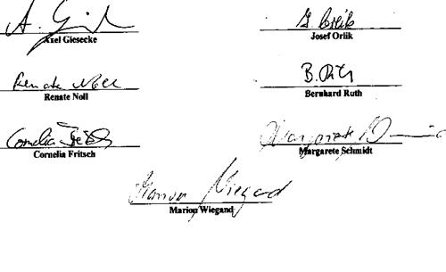 Unterschriften Chronik