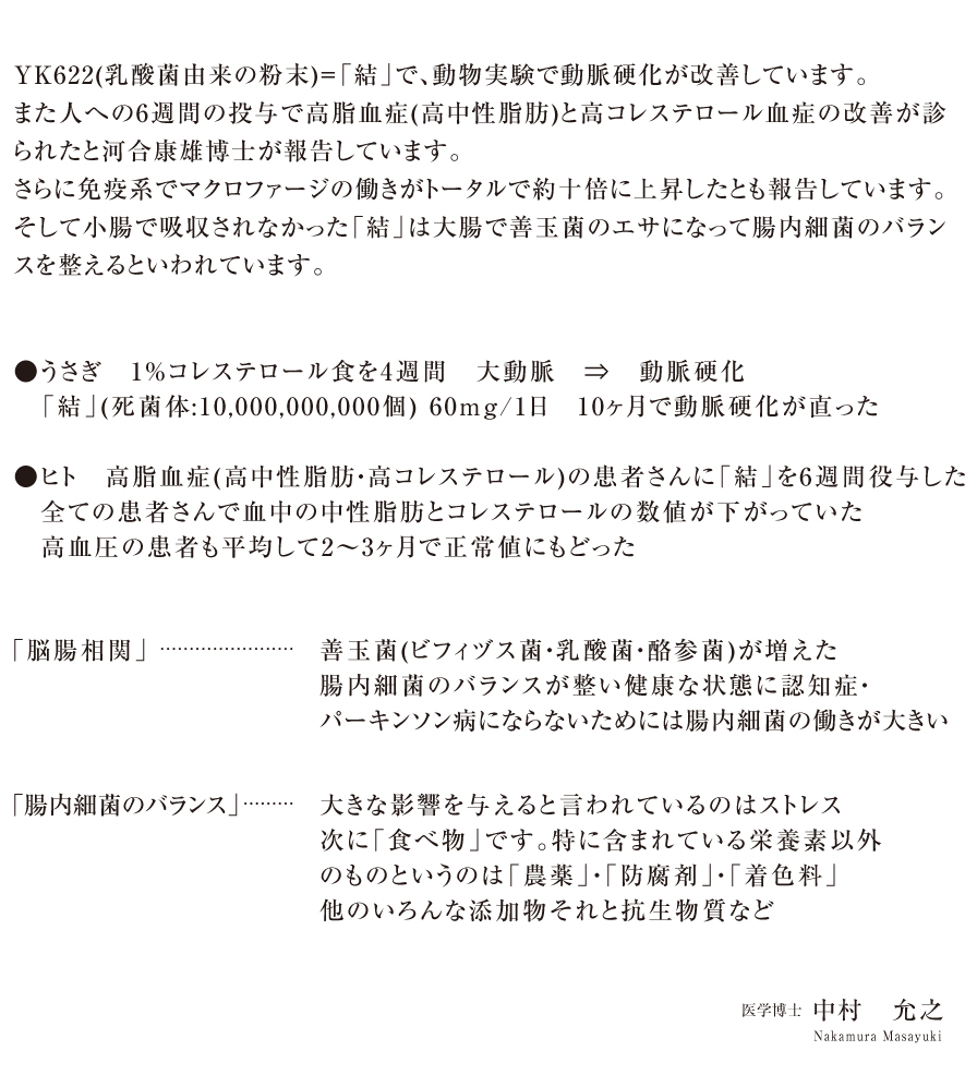 京都脳梗塞リハビリセンターの推奨サプリメント結YK622の医師による説明