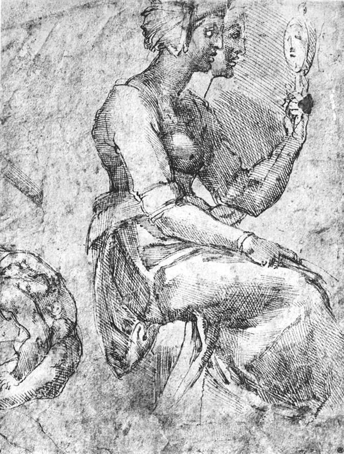 """MICHEL-ANGE, """"Etude d'une femme assise"""", (s. d.), Chantilly, Musée Condée (source : WGA)."""