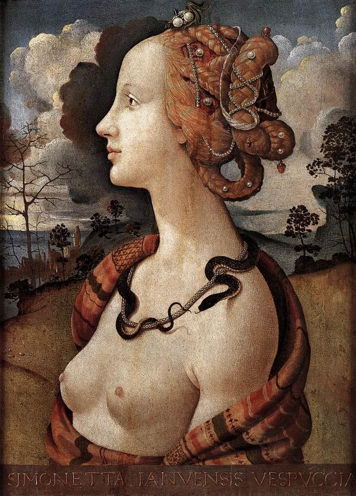 """Piero di COSIMO, """"POrtrait de Simonetta Vespucci"""", (vers 1480), Chantilly, Musée Condée (source : WGA)."""