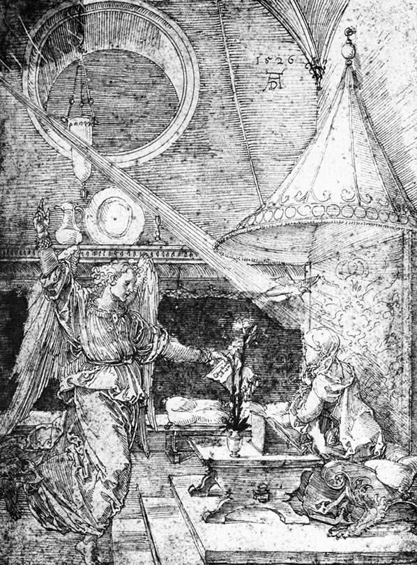 """ALBRECHT DÜRER, """"Annonciation"""", (1526), Chantilly, Musée Condée (source : WGA)."""