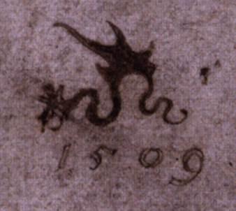 """Le serpent ailé"", signature de Cranach, (source : Web Gallery of Arts)."