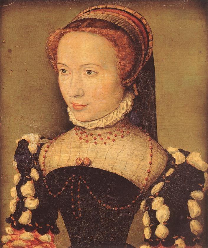 """Corneille de LYON, """"Portrait de Gabrielle de Rochechouart"""", (vers 1574), Chantilly, Musée Condée (source : WGA)."""