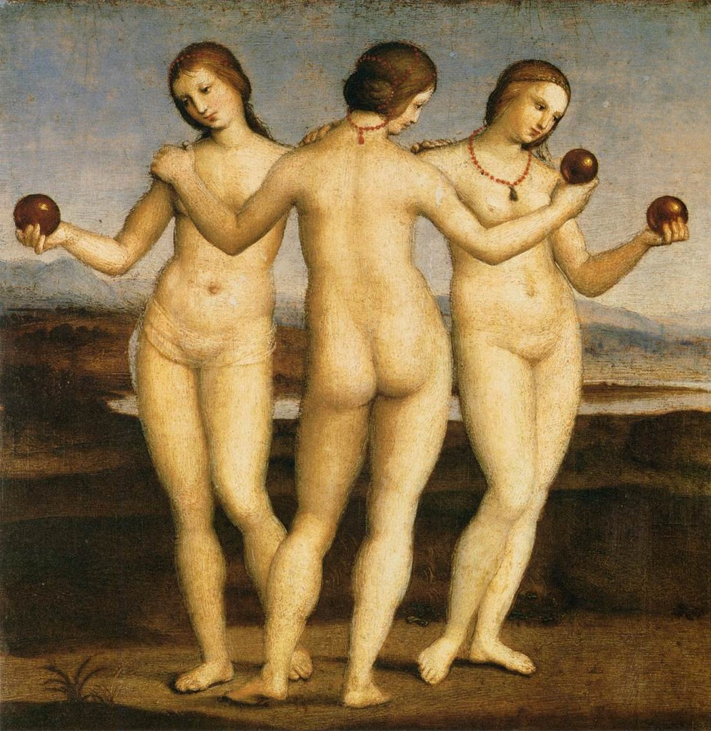 """RAPHAËL, """"Les Trois Grâces"""", (1504-1505), Chantilly, Musée Condée (source : WGA)."""