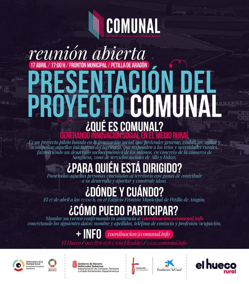 Reuniones abiertas de presentación del proyecto Comunal en Petilla de Aragón y Sangüesa
