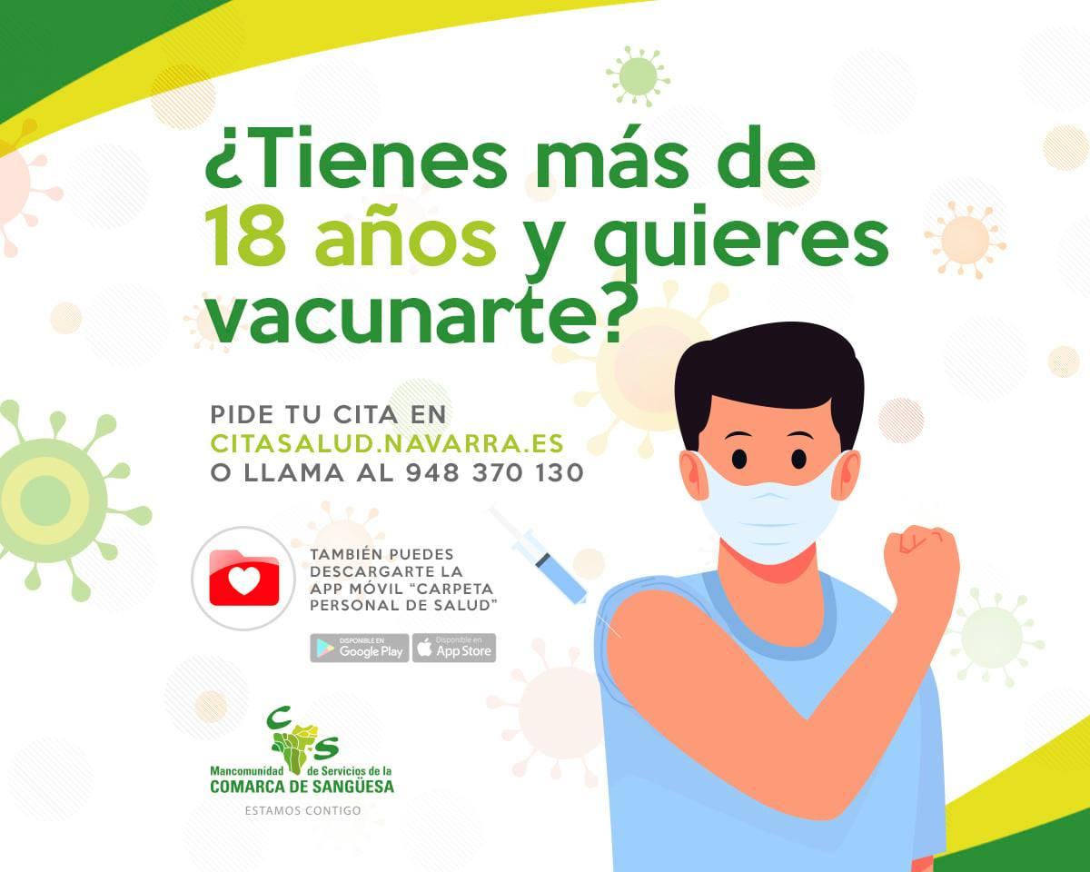 Si eres mayor de 18 años, pide tu cita de vacunación