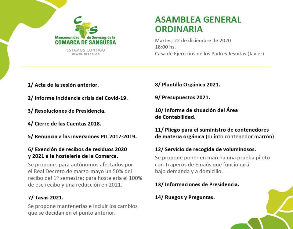 Puntos del día que se debatirán en la Asamblea Ordinaria del próximo 22 de diciembre
