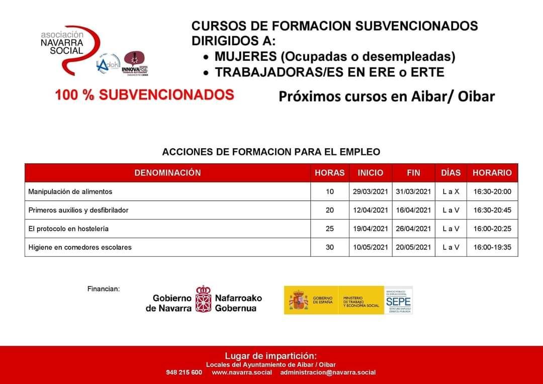 Próximos cursos 100% subvencionados en Aibar para trabajadores en ERE/ERTE y mujeres ocupadas o desempleadas
