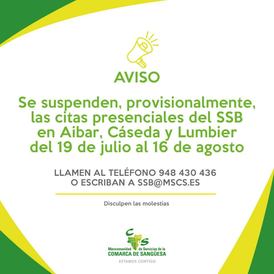 Se suspenden provisionalmente las citas presenciales del SSB en Aibar, Cáseda y Lumbier del 19 de julio al 16 de agosto
