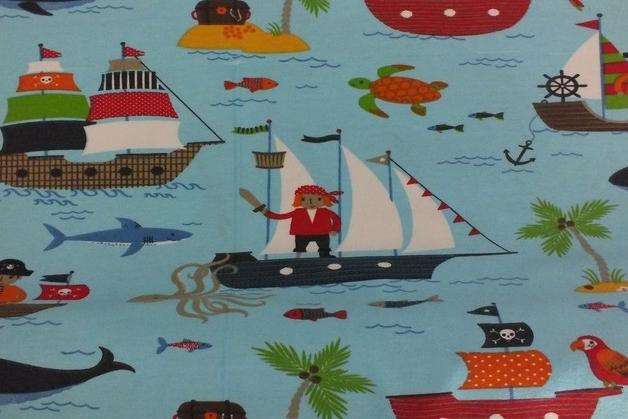 Kinderstoff Baumwolle Segelboot und Anker rosa 145cm