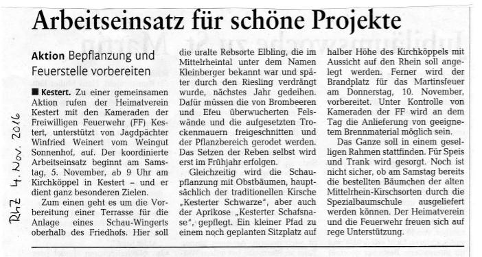 Bericht in der Rhein-Zeitung vom 04.11.2016.