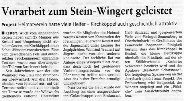 Bericht aus der Rhein-Zeitung vom 11.11.2016