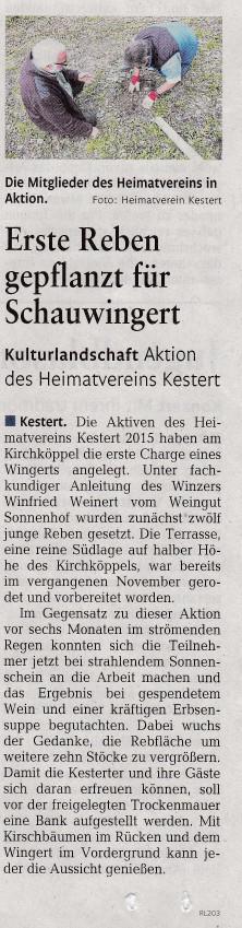 Bericht aus der Rhein-Zeitung vom 17.05.2017