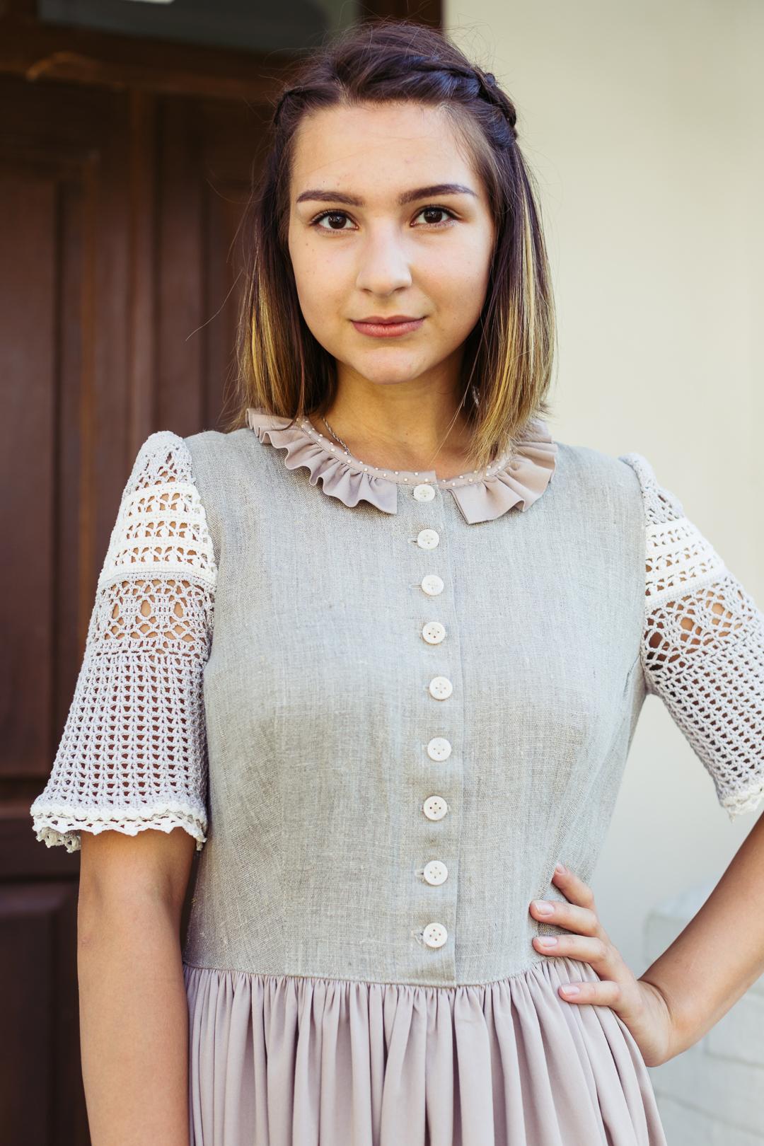 платье в русском стиле, платье льняное