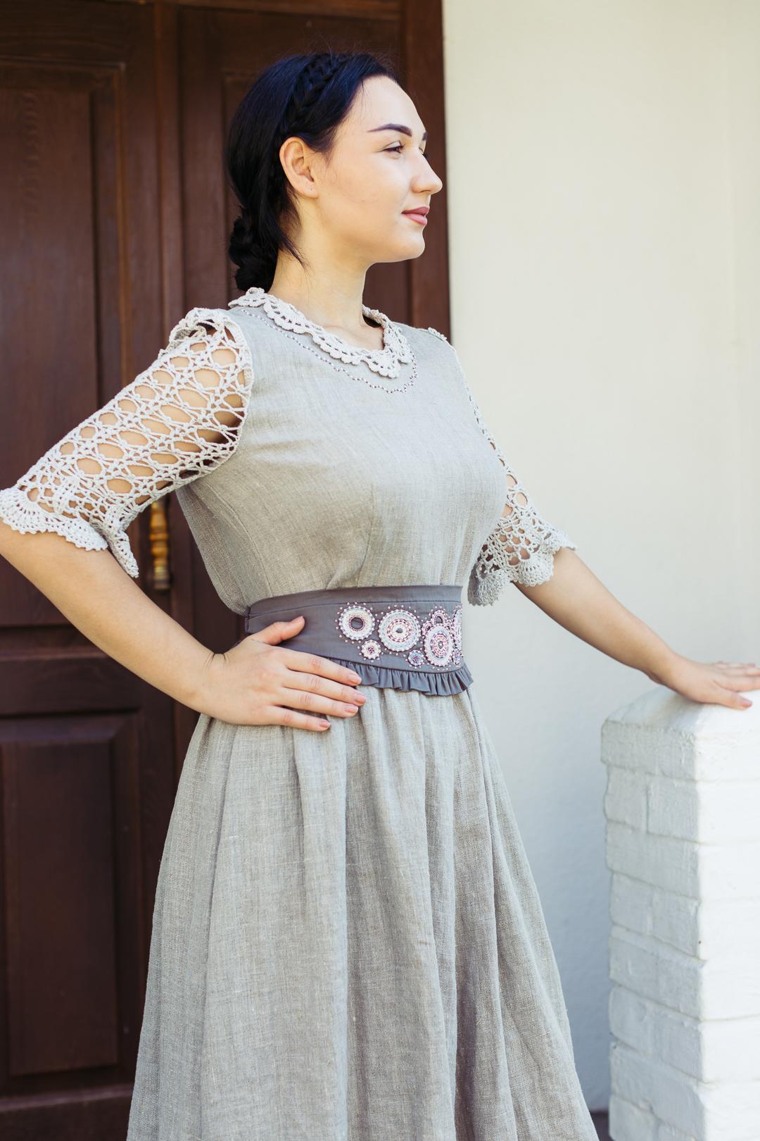 платье с вышивкой, натуральный лён