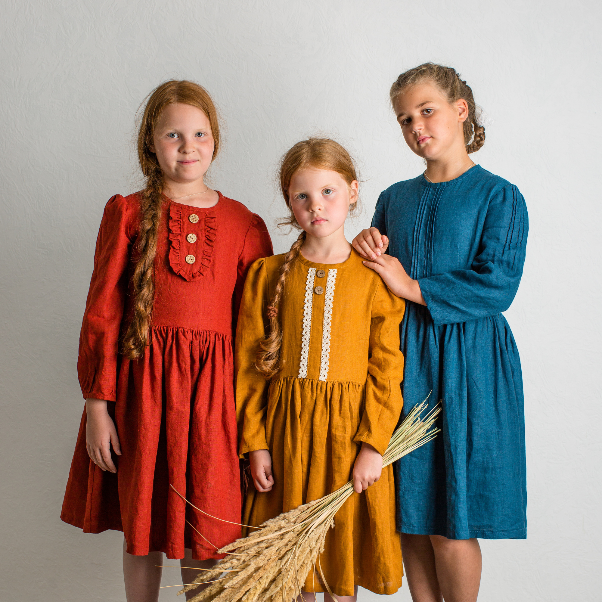 organic linen dress girls, russian style dress