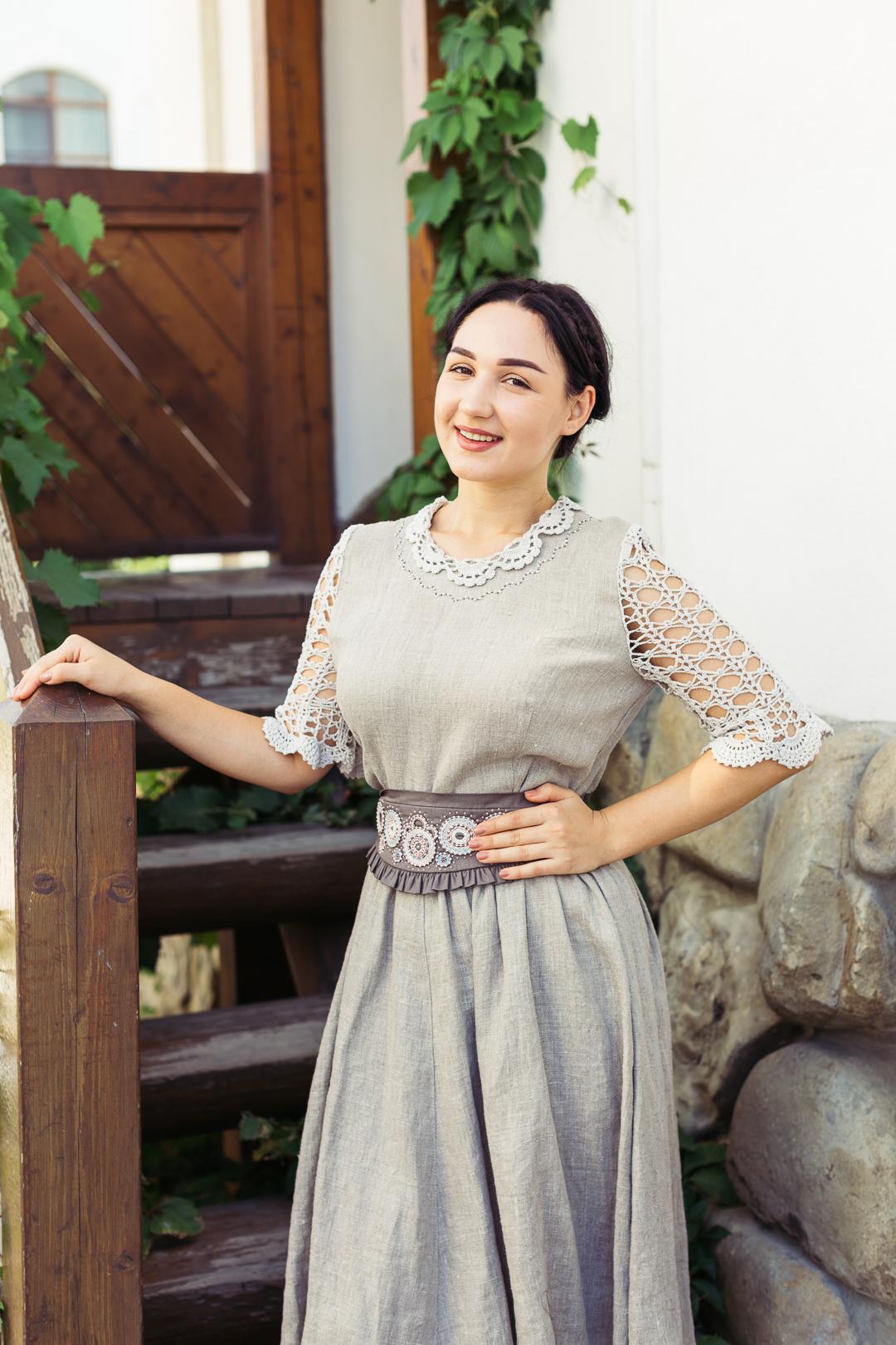 платье льняноев русском стиле