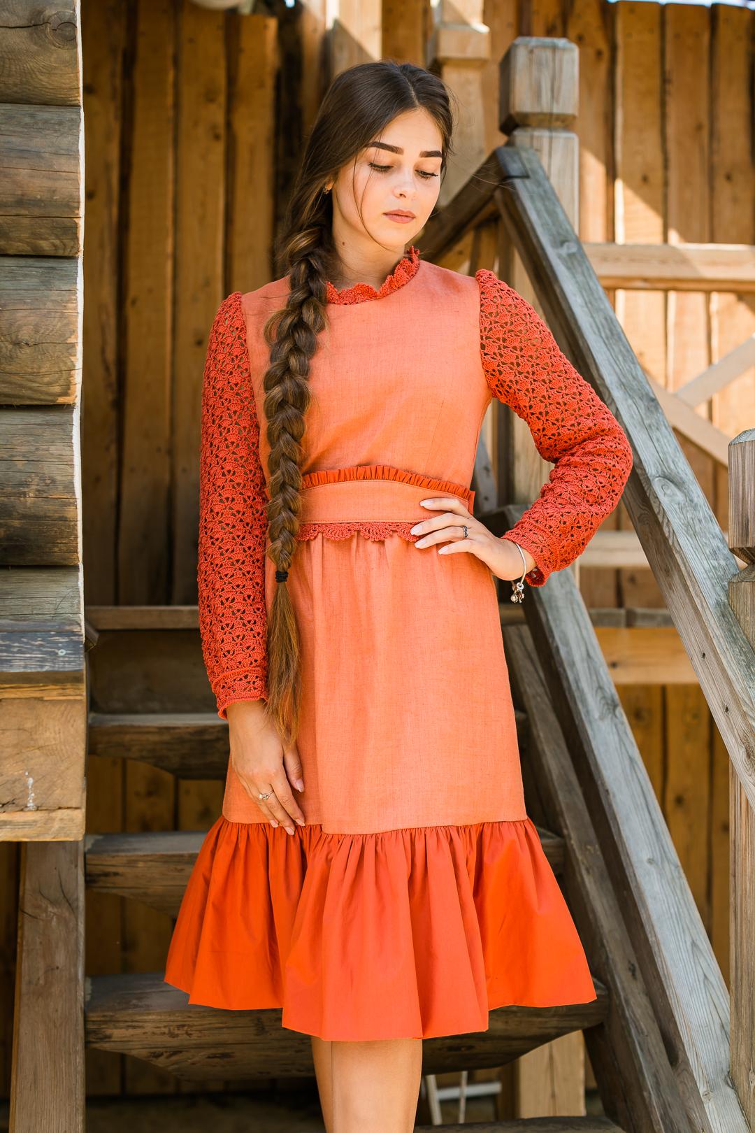 платье яркое, платье из льна