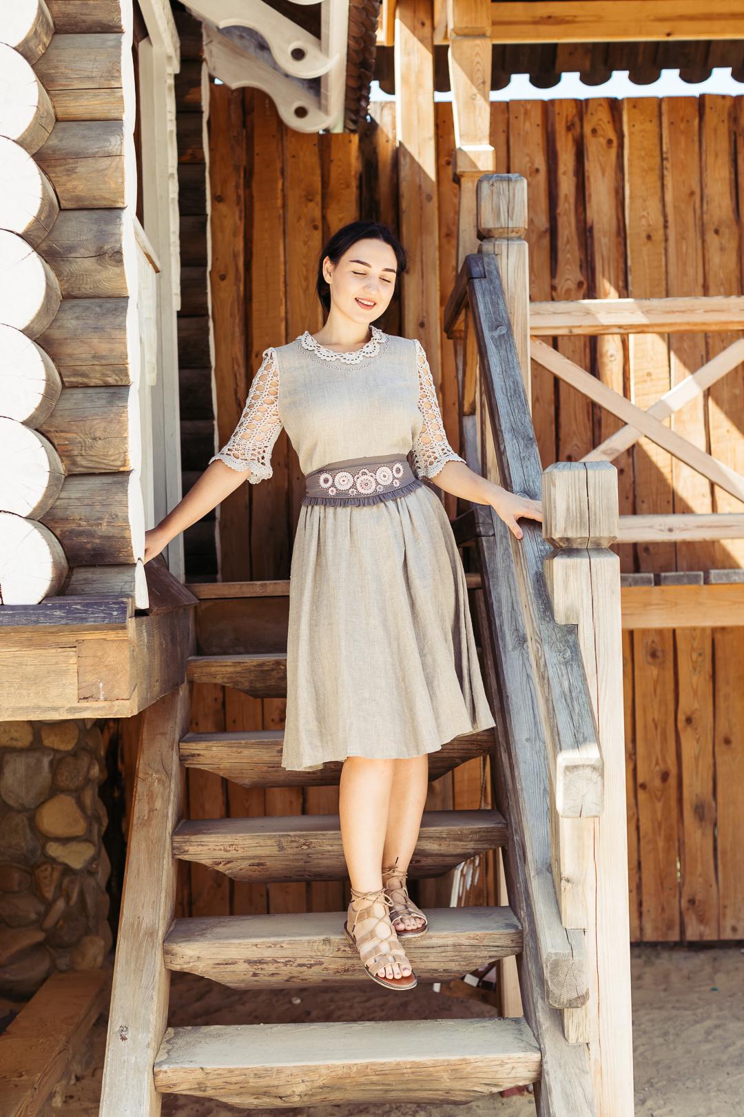 платье льняное, платье в русском стиле, РУССКИЙ СТИЛЬ