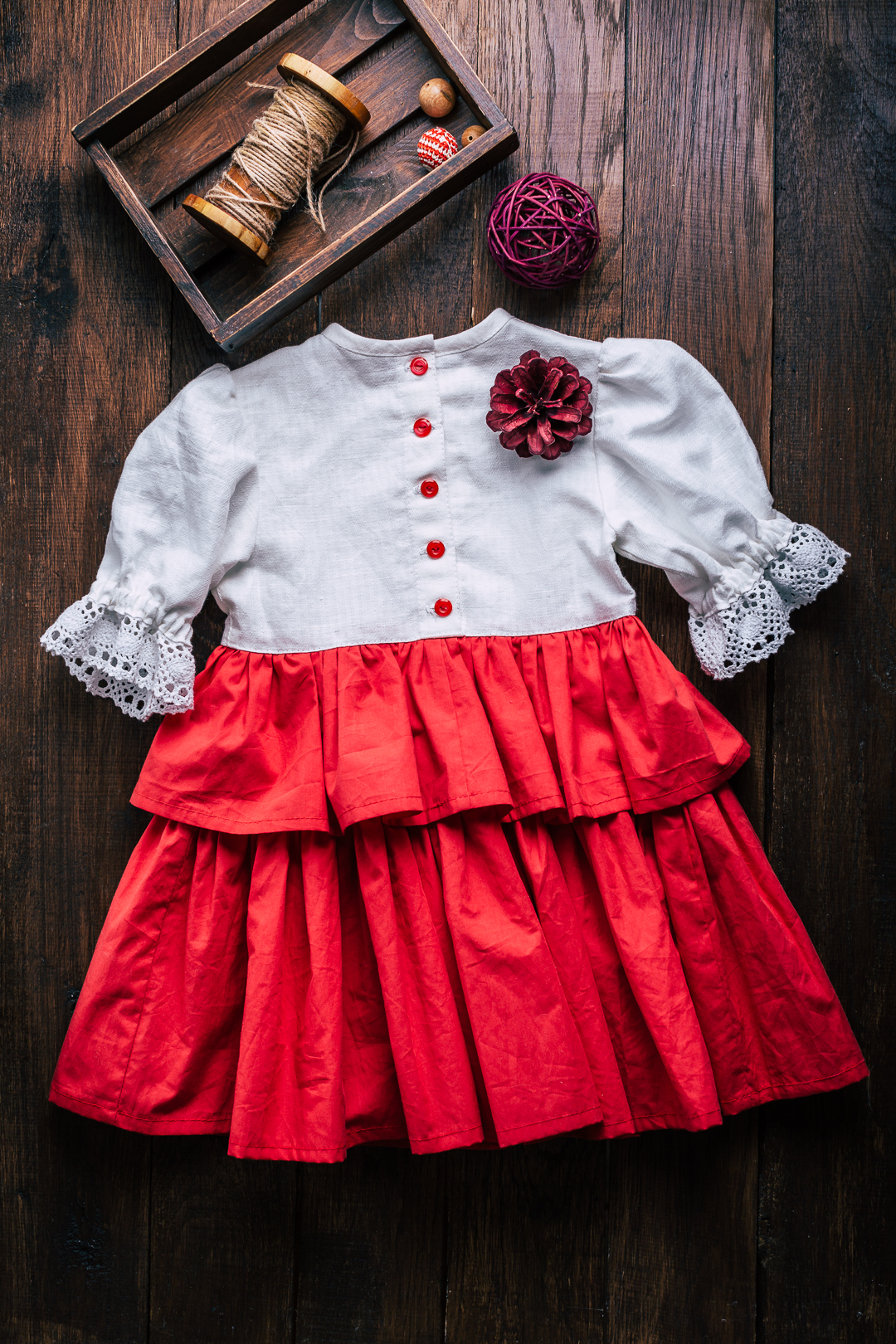 slavic linen dress for toddler girl